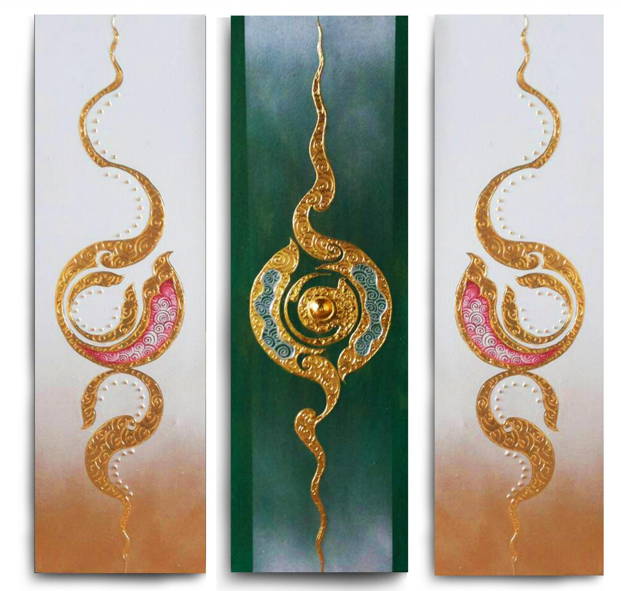Traditional Asian Multi Panel Painting | Royal Thai Art Inside Multiple Piece Wall Art (Image 11 of 20)