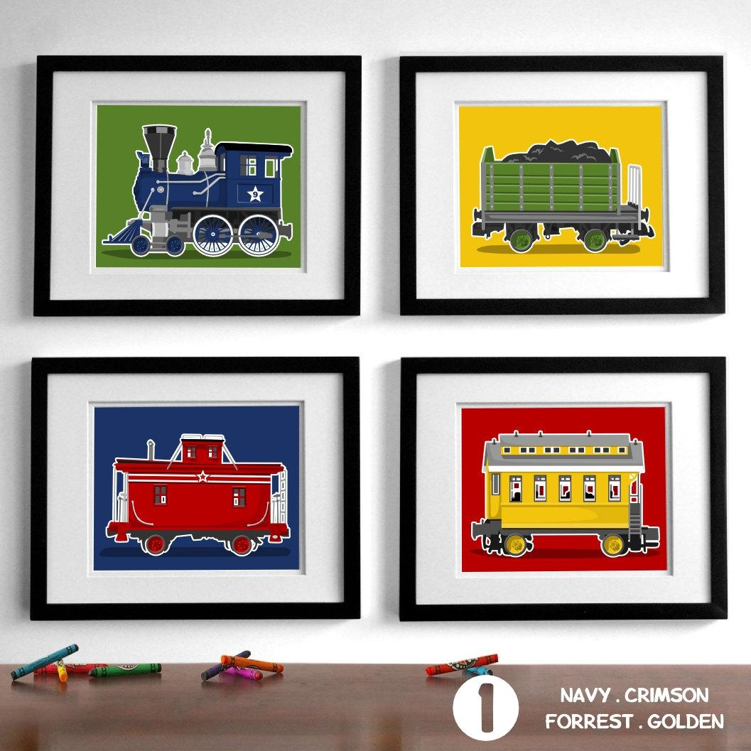 Train Wall Art Transportation Wall Art Prints Boy's Inside Etsy Childrens Wall Art (View 15 of 20)