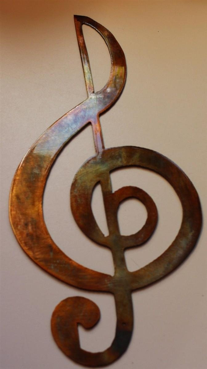 Treble Clef Musical Note Metal Wall Art Inside Metal Music Notes Wall Art (Image 12 of 20)
