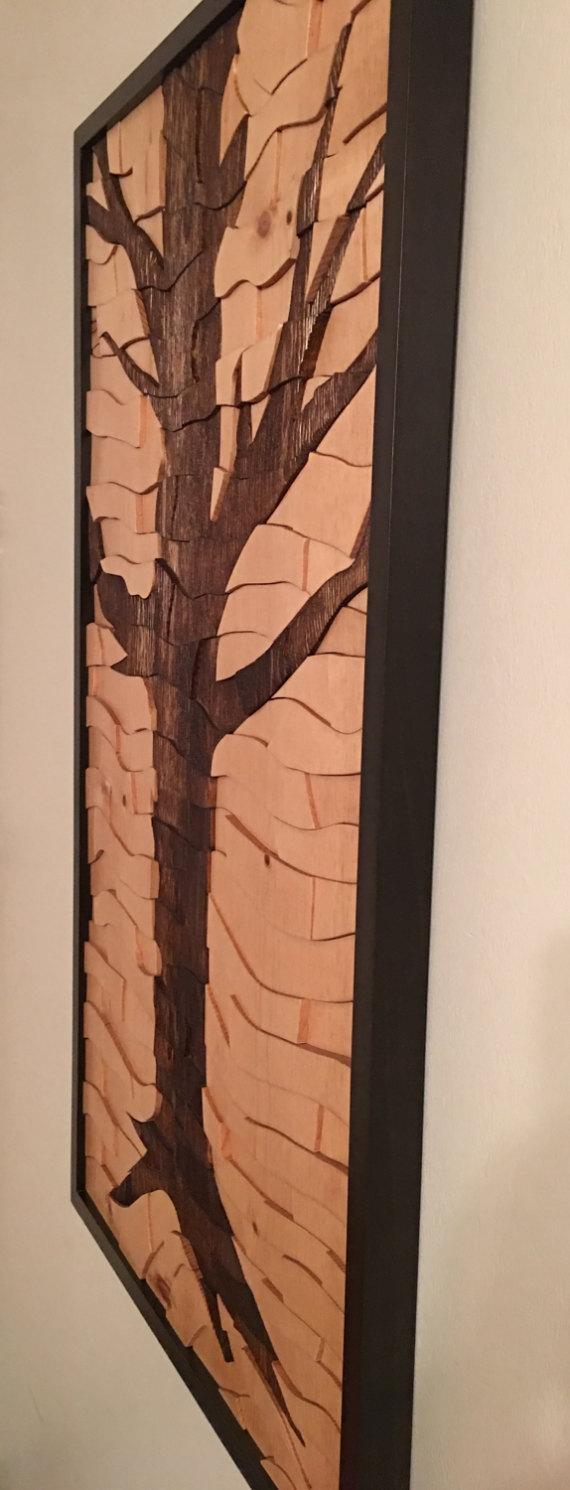 Tree Artwork Wood Wall Art Art Work Modern Art Tree Intended For Tree Sculpture Wall Art (View 9 of 20)