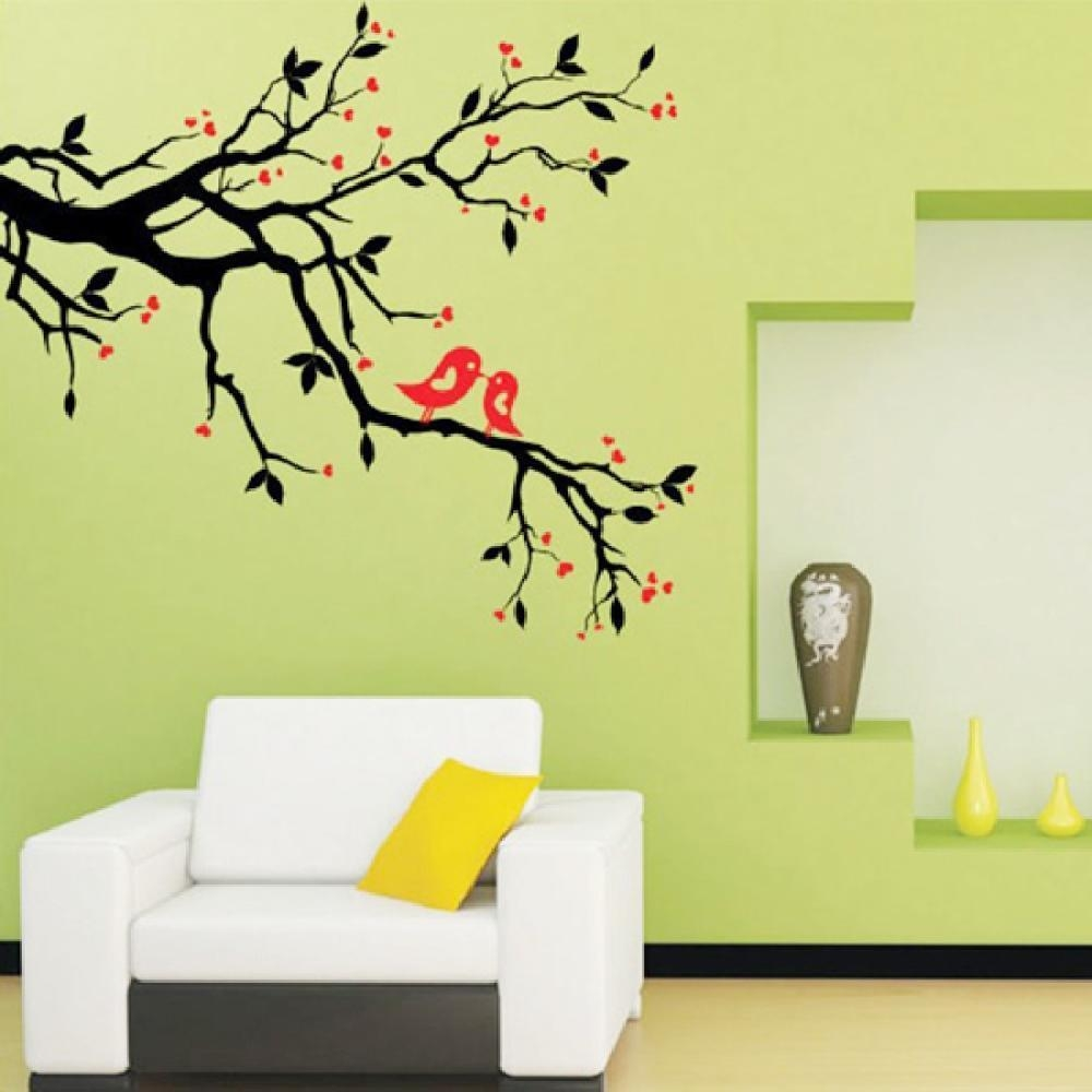 Tree Branch Love Birds Cherry Blossom Wall Decor Decals Removable Regarding Red Cherry Blossom Wall Art (View 16 of 20)