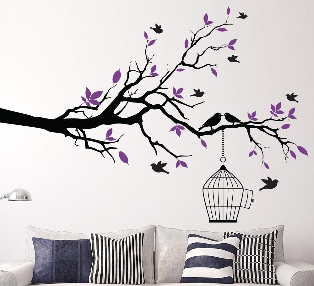 Tree Branch With Bird Cage Wall Sticker For Living Area Within Tree Branch Wall Art (Image 16 of 20)