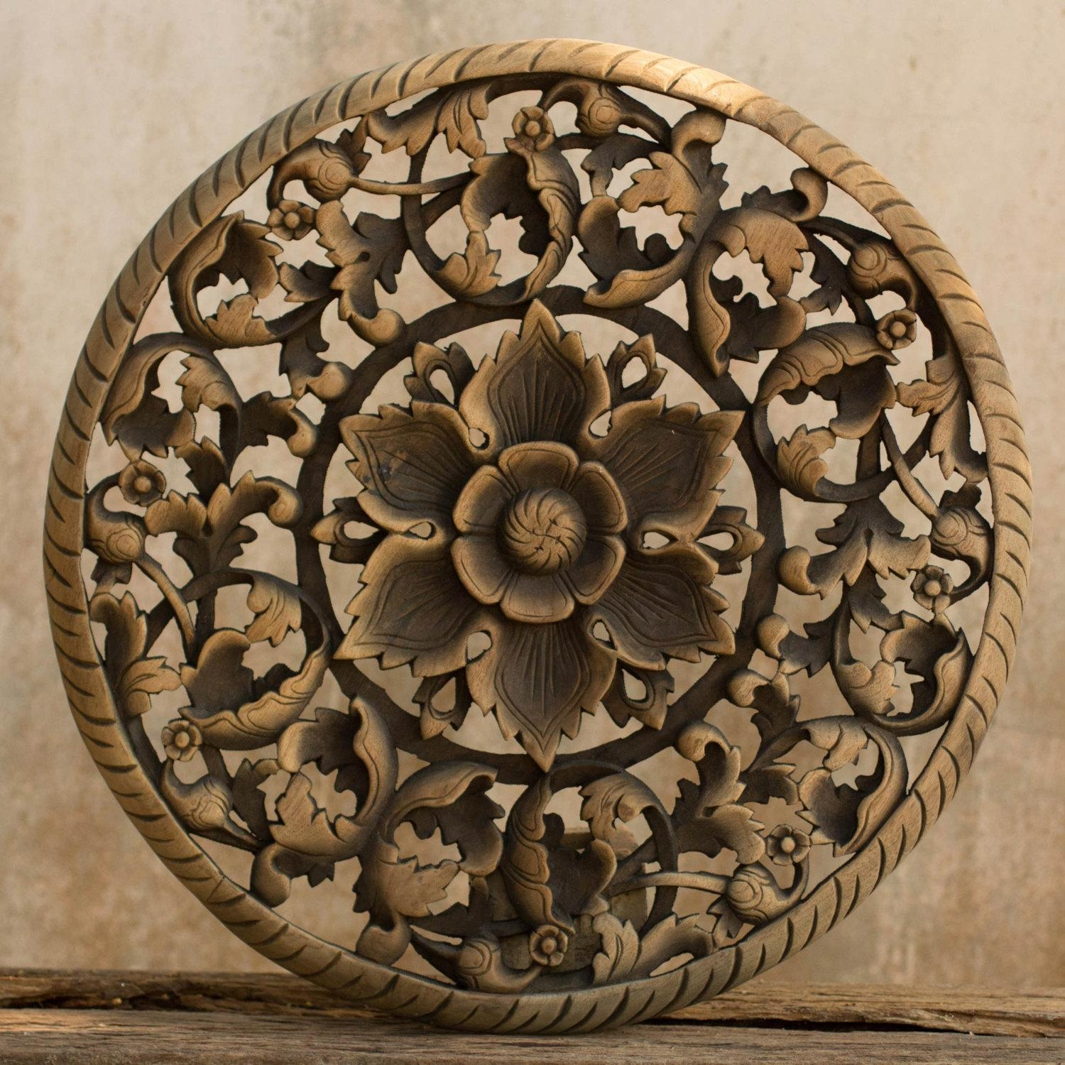 Tree Dimensional Floral Wooden Wall Hanging – Siam Sawadee Throughout Wood Panel Wall Art (Image 10 of 20)