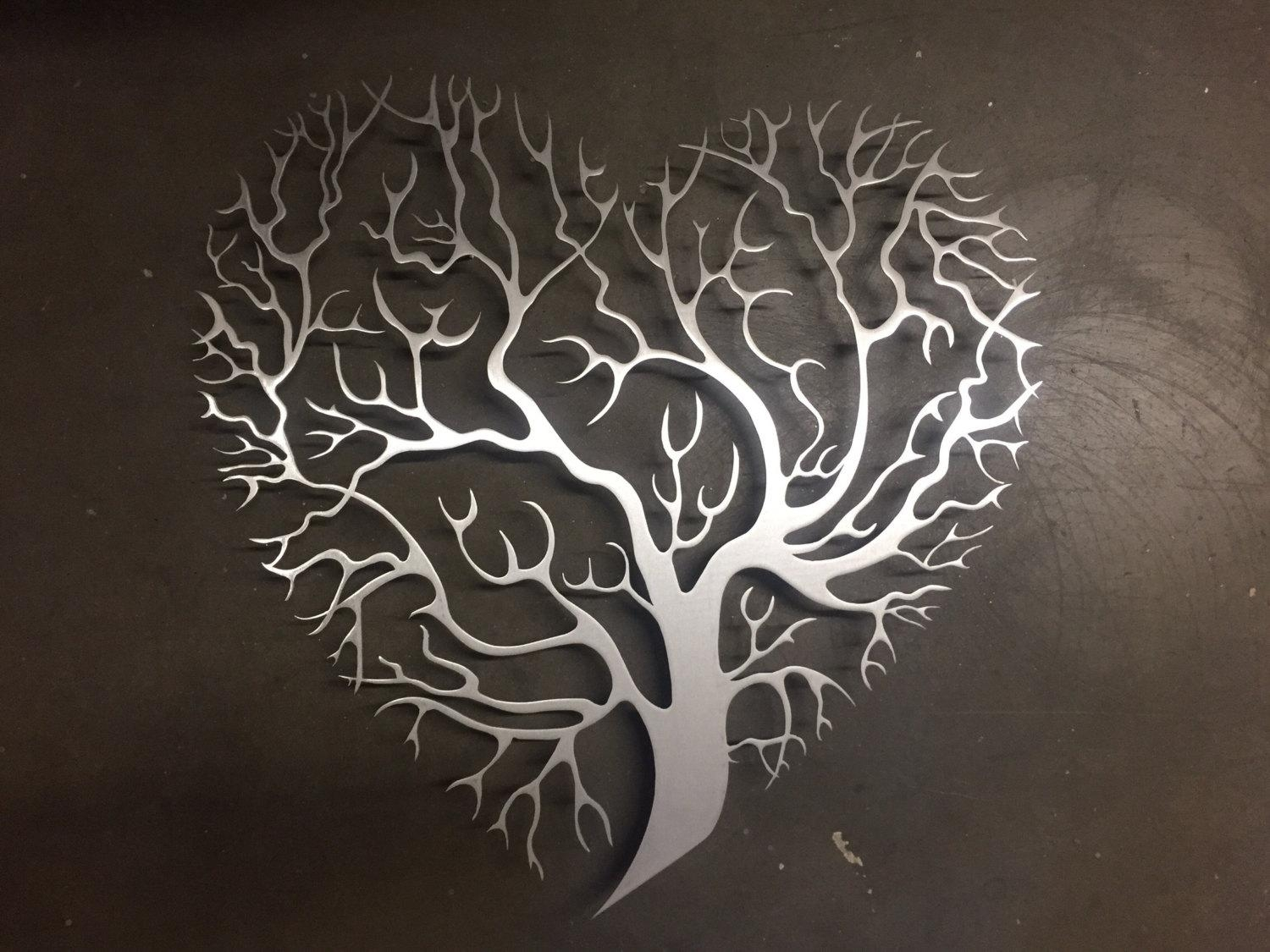 Tree Heart Metal Wall Art Tree Metal Wall Art Unique Wall Regarding  Metallic Wall Art (