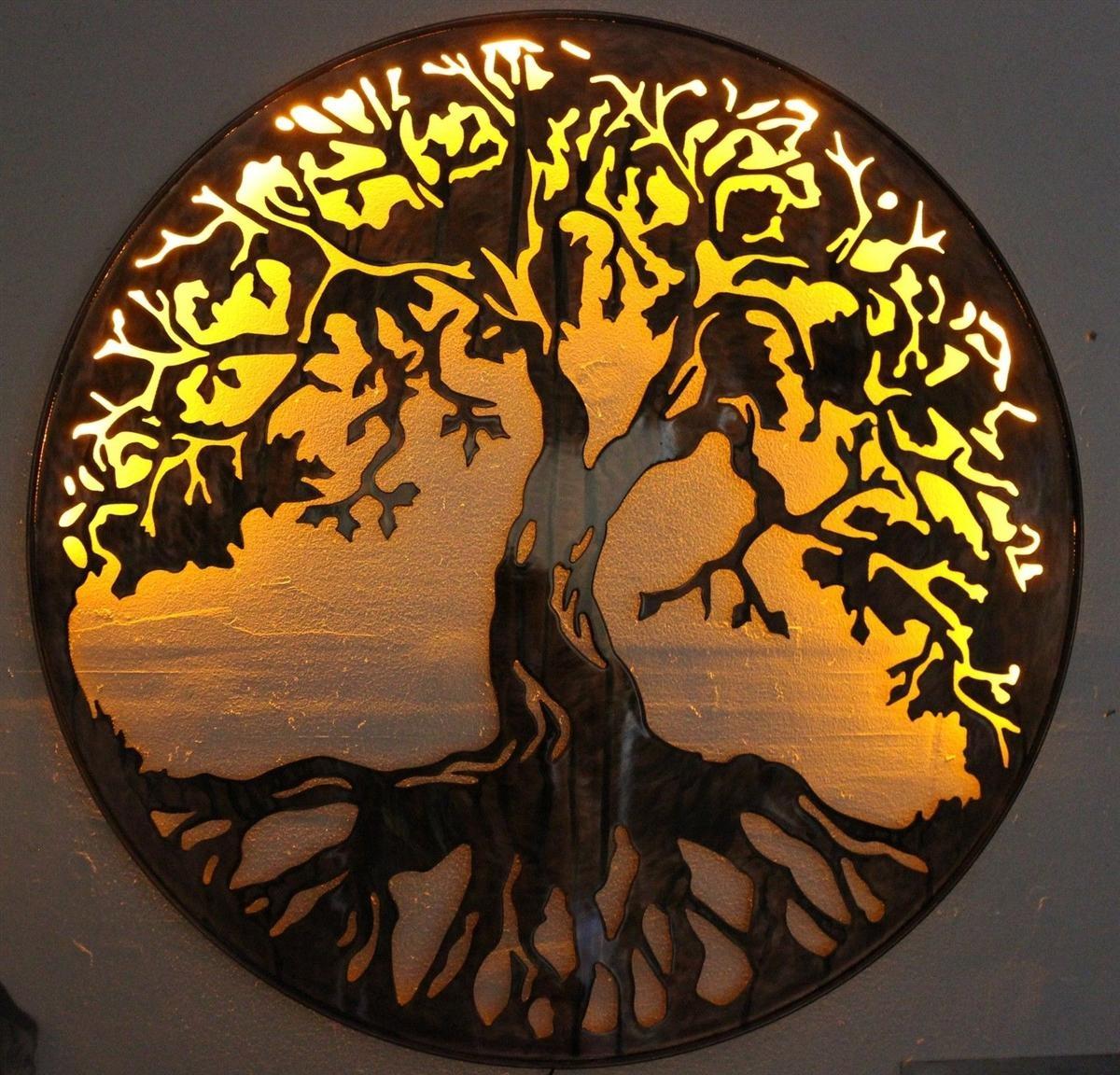 "Tree Of Life Metal Wall Art 24"" With Led Lightshgmw In Oak Tree Metal Wall Art (Image 17 of 20)"