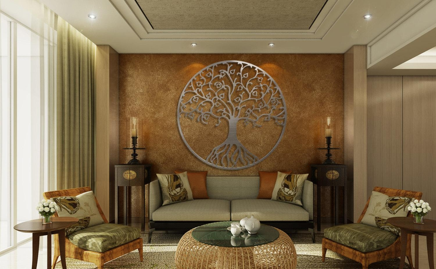 Tree Of Life Metal Wall Art Metal Tree Wall Art Circle Wall With Regard To Metal Tree Wall Art Sculpture (View 10 of 20)