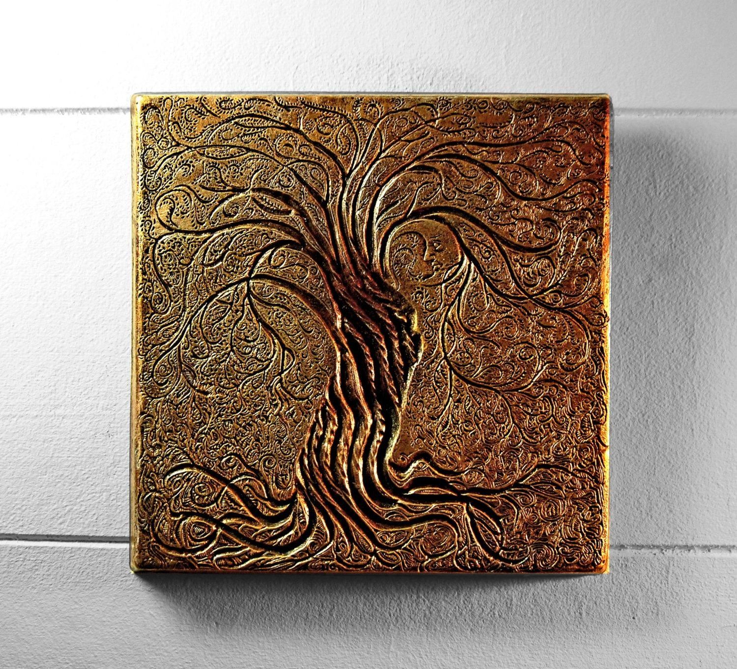 Tree Of Life Wall Art Sculpture Rustic Gift Bronze Tree Throughout Bronze Tree Wall Art (View 4 of 20)