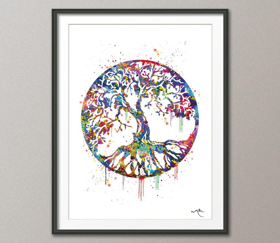 Tree Of Life Watercolor Art Print Wall Art Poster Wedding Inside Celtic Tree Of Life Wall Art (Image 19 of 20)
