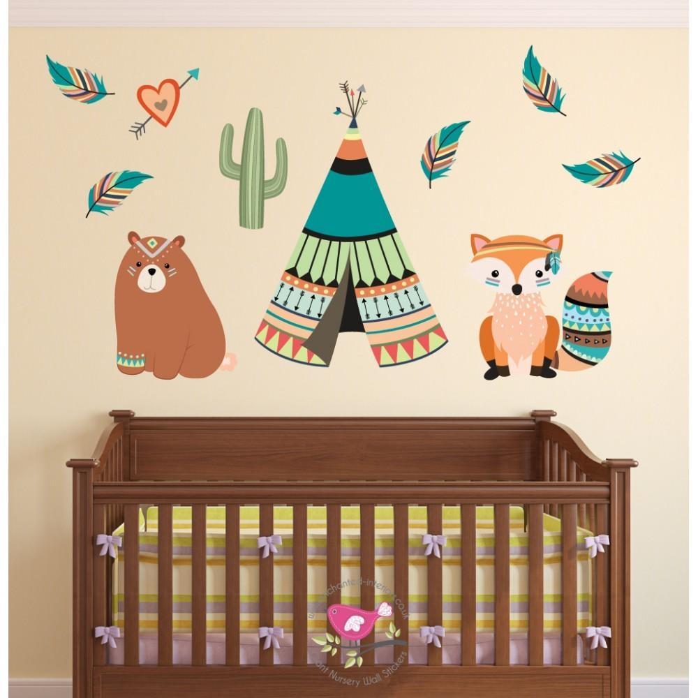 Tribal Animal Nursery Wall Art Stickers Within Nursery Wall Art (Image 19 of 20)