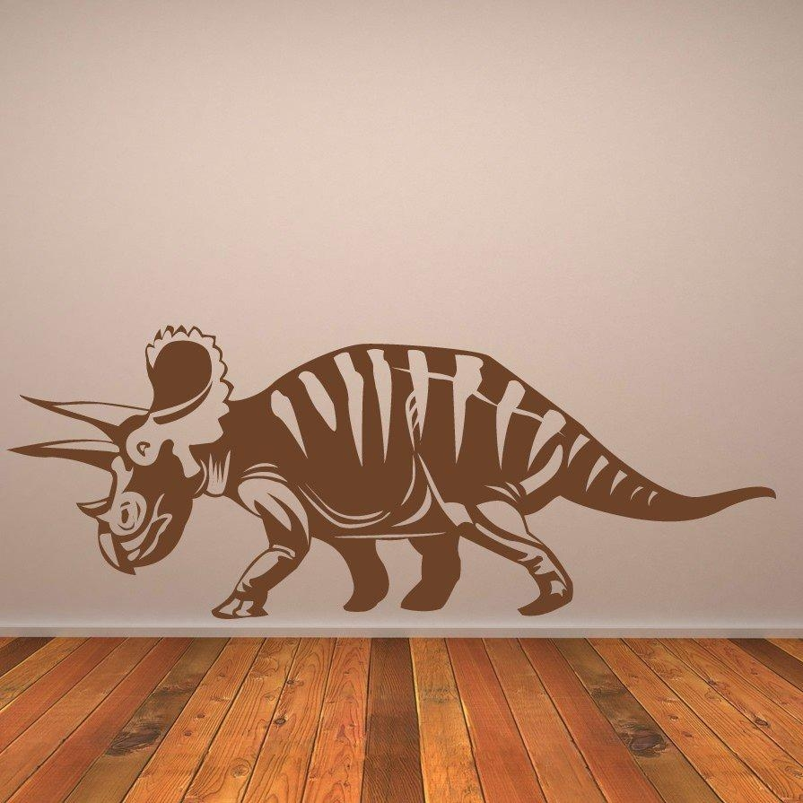 Triceratops Prehistoric Dinosaur Wall Stickers Kids Nursery In Dinosaur Wall Art For Kids (View 19 of 20)