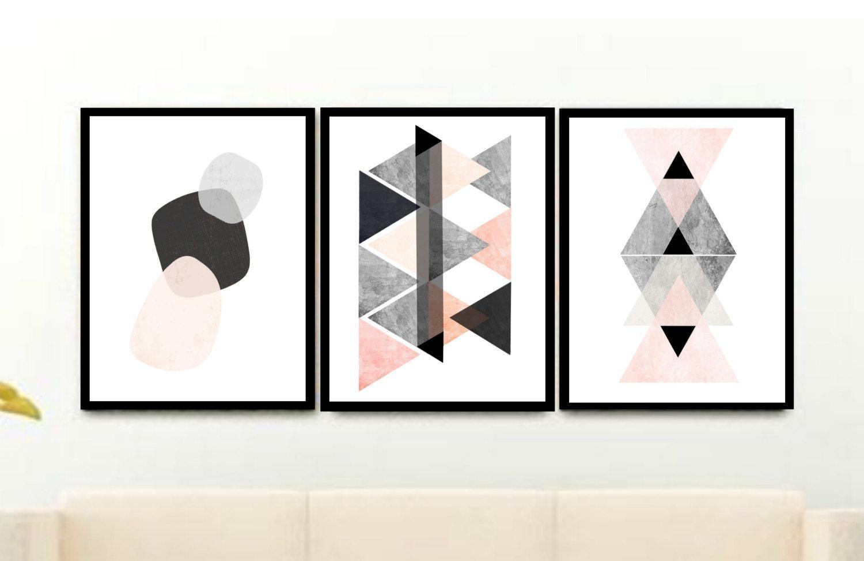 Triptych Scandinavian Prints Geometric Art Printable Art Pertaining To Wall Art Print Sets (View 16 of 20)