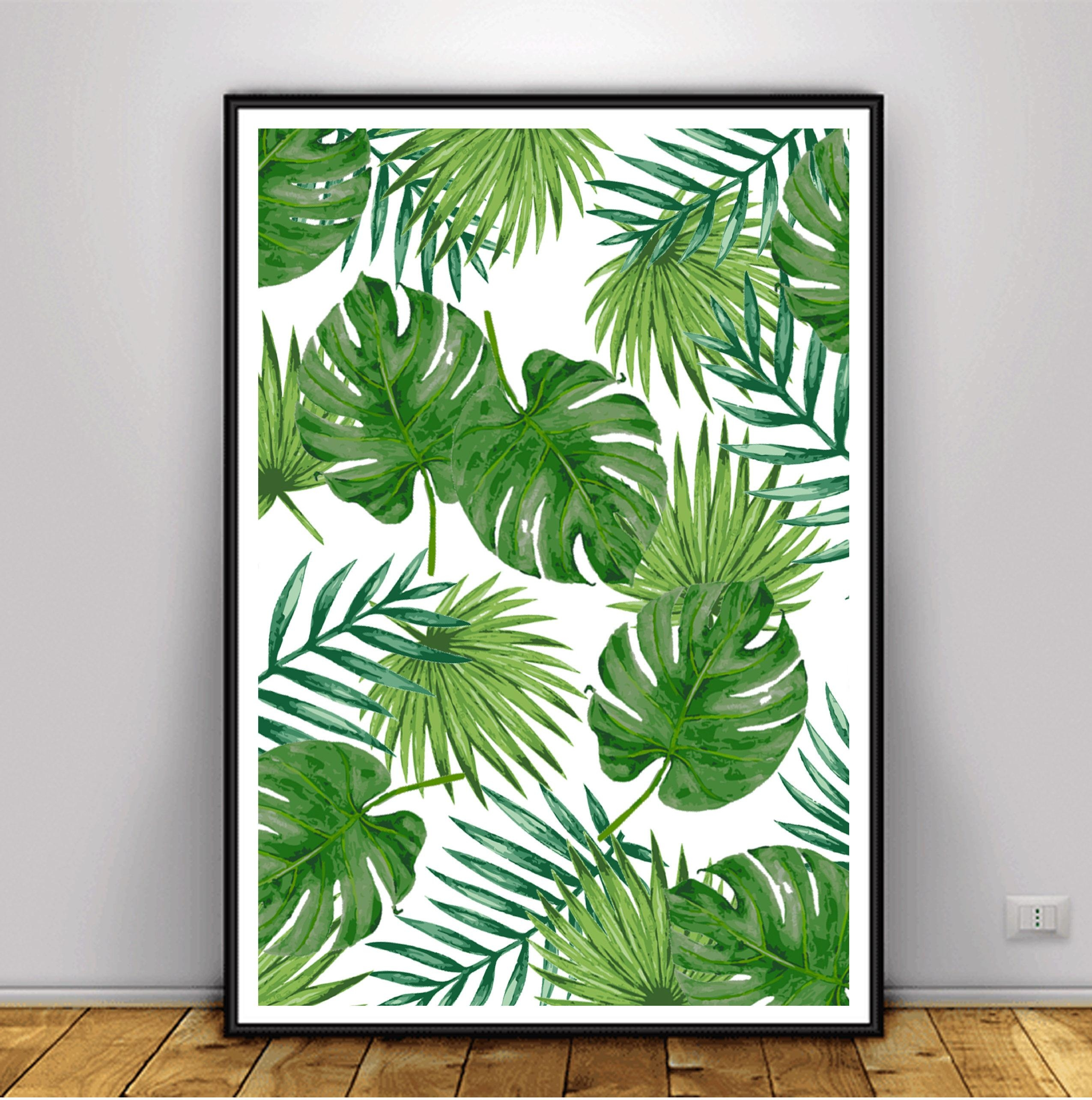 Tropical Leaf Print Banana Leaf Print Palm Leaf Poster Intended For Palm Leaf Wall Art (Photo 10 of 20)