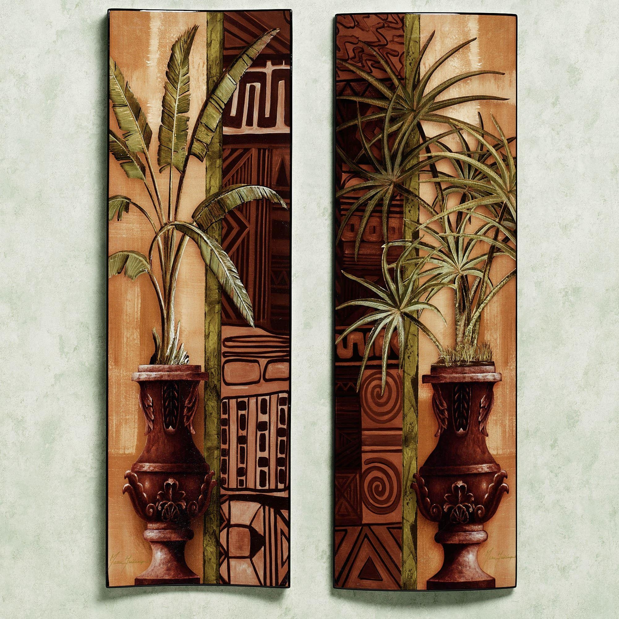 Tropical Palms Wooden Wall Panel Set In Wooden Wall Art Panels (Image 11 of 20)