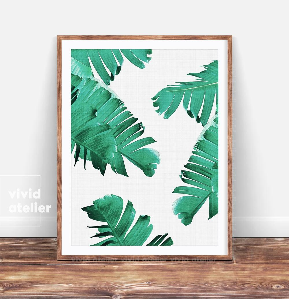 Tropical Printable Art Tropical Leaves Banana Leaf Art Palm With Regard To Palm Leaf Wall Decor (Photo 10 of 20)