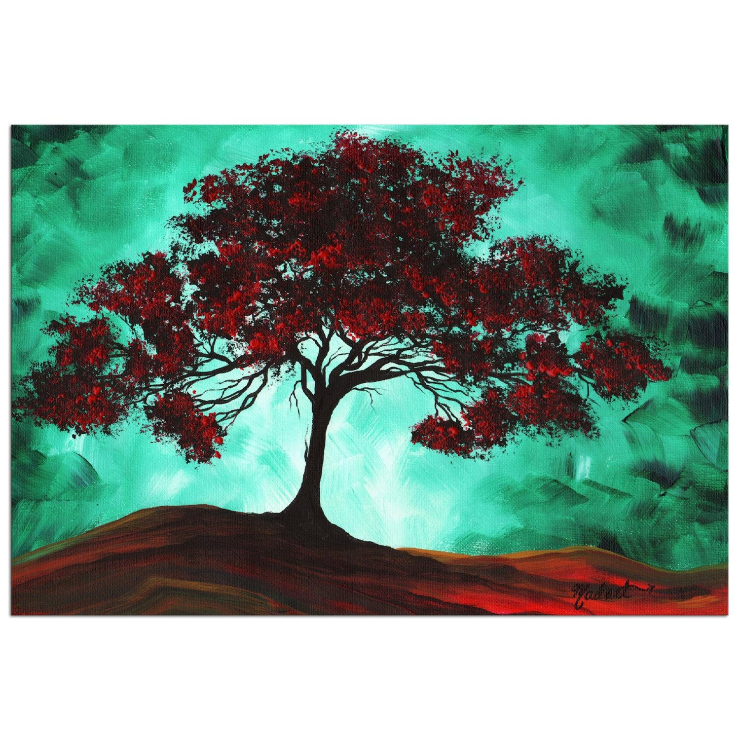 Turquoise Tree Art 'passion Fire' Contemporary Sea Inside Megan Duncanson Metal Wall Art (Image 17 of 20)