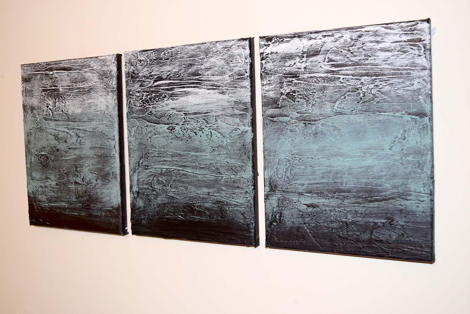 "Turquoise Triptych"" Abstract Artists Triptych Art On Canvas In Triptych Art For Sale (View 1 of 20)"