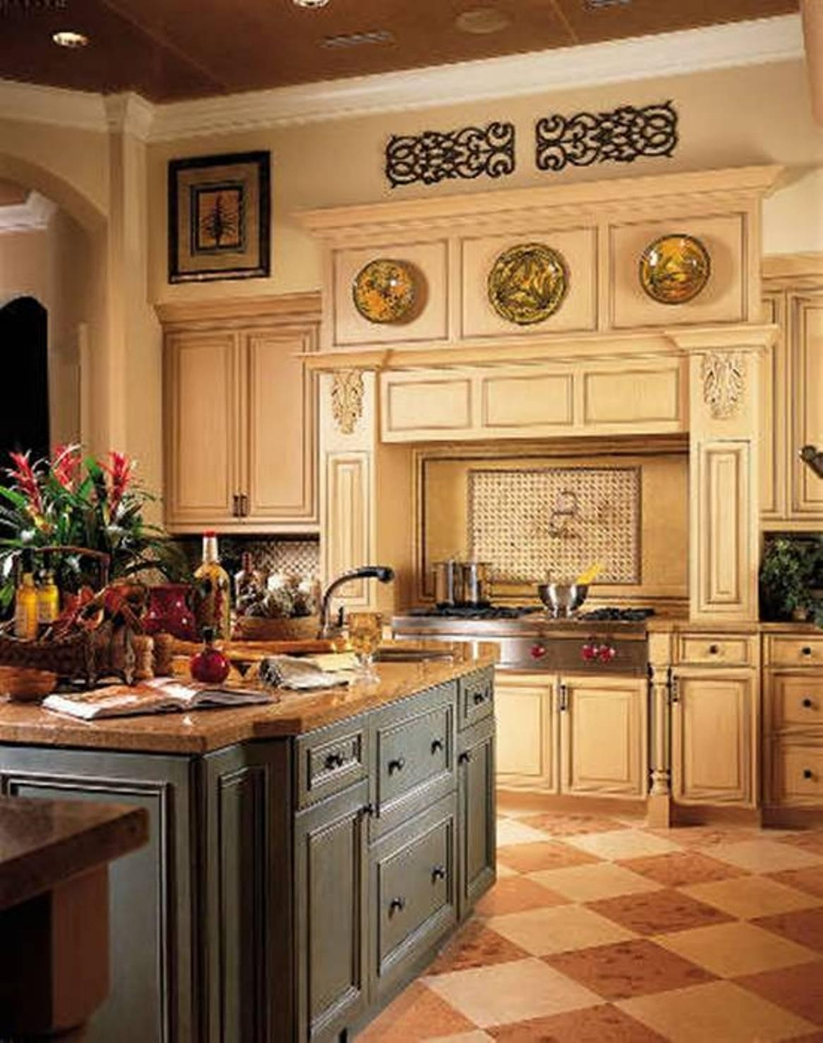 Tuscan Decorating Kitchen With Plates And Wrought Iron Decor And Pertaining To Tuscan Wrought Iron Wall Art (Image 8 of 20)