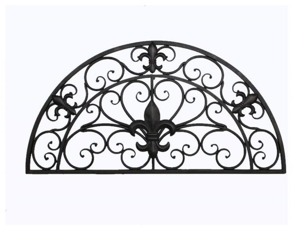 Tuscan Indoor Outdoor Semi Circle Fleur De Lis Wrought Iron Wall With Regard To Tuscan Wrought Iron Wall Art (Image 9 of 20)