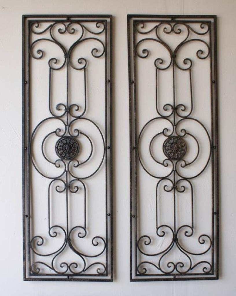 Tuscan Large Scrolling Wrought Iron Wall Grille Set Tuscan Wrought  Pertaining To Tuscan Wrought Iron Wall