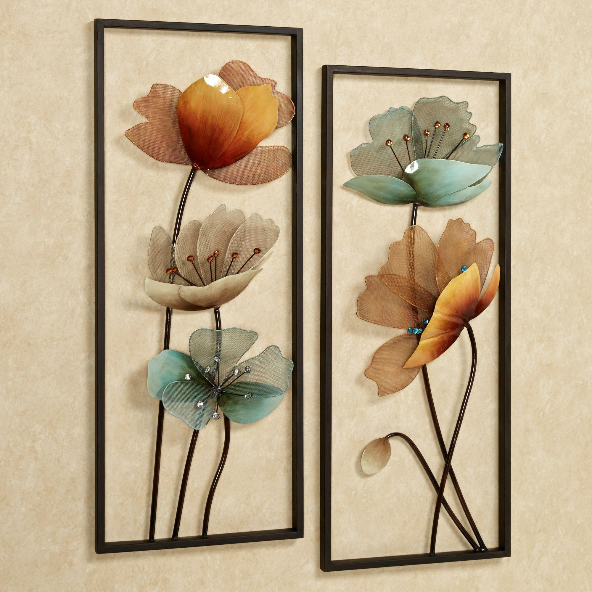 Tuscany In Bloom Floral Metal Wall Art Set For Metallic Wall Art (Image 20 of 20)