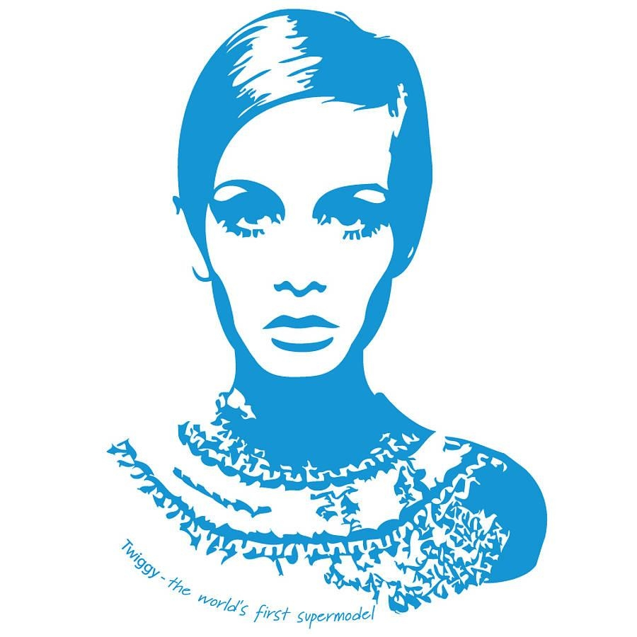 Twiggy Wall Stickerthe Bright Blue Pig | Notonthehighstreet Inside Twiggy Vinyl Wall Art (Image 15 of 20)