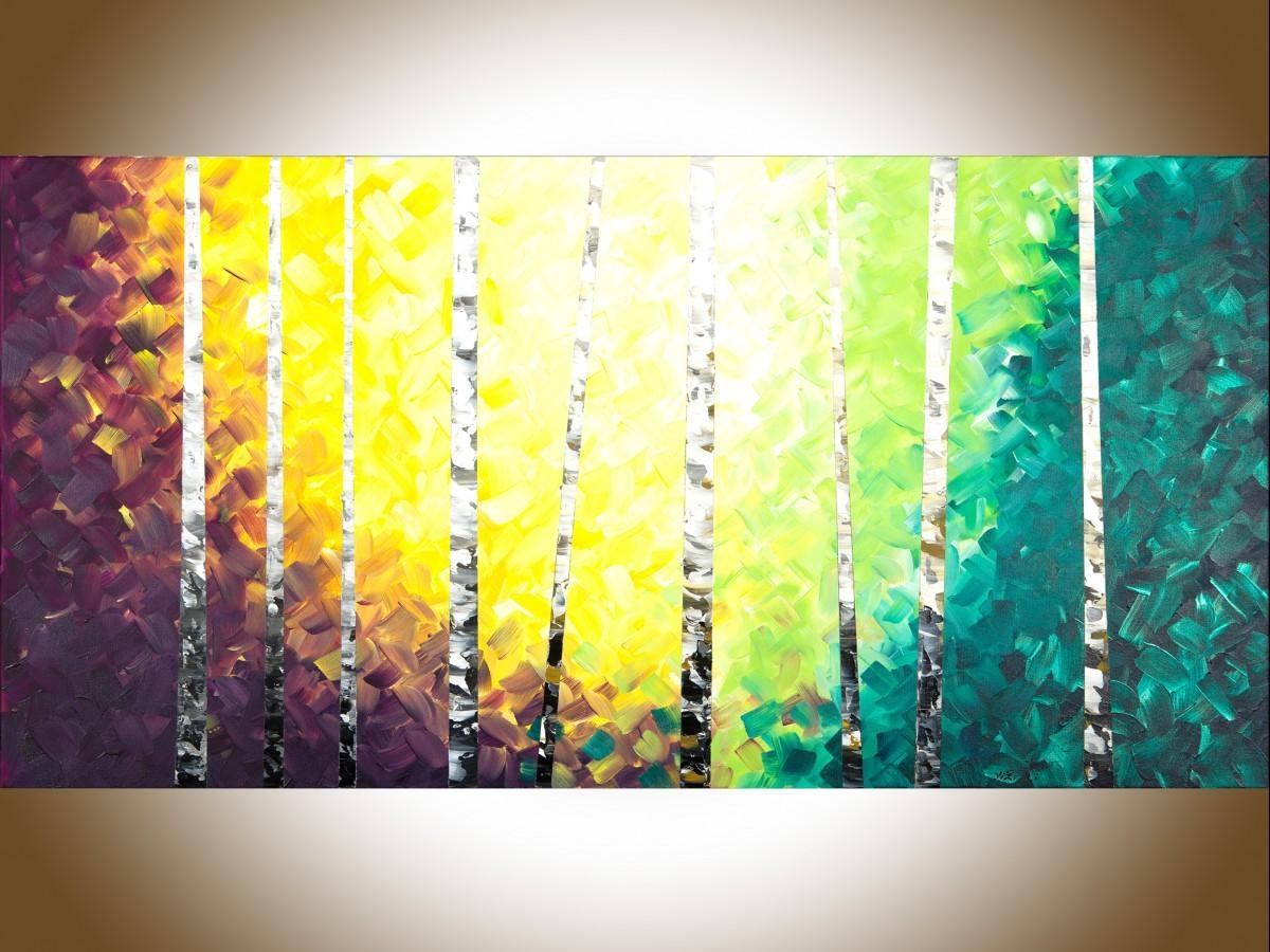 "Twilight Birch Treesqiqigallery 48"" X 24"" Colourful Painting With Regard To Yellow And Green Wall Art (Image 19 of 20)"