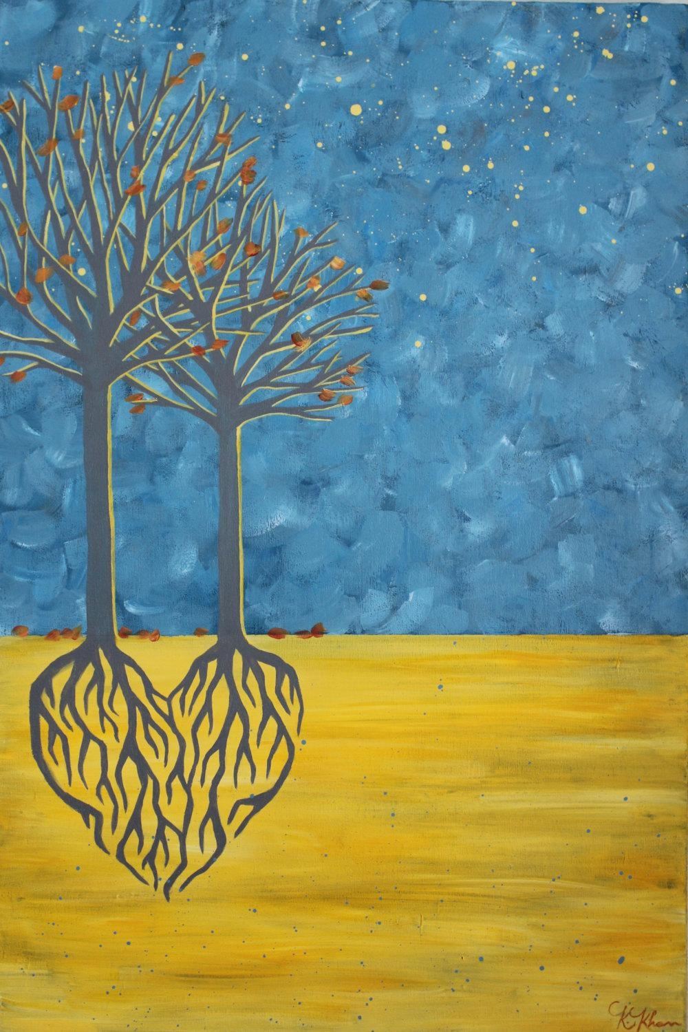 Two Trees Heart Roots Painting Blue And Yellow Wall Art Fall In Yellow And Blue Wall Art (View 16 of 20)