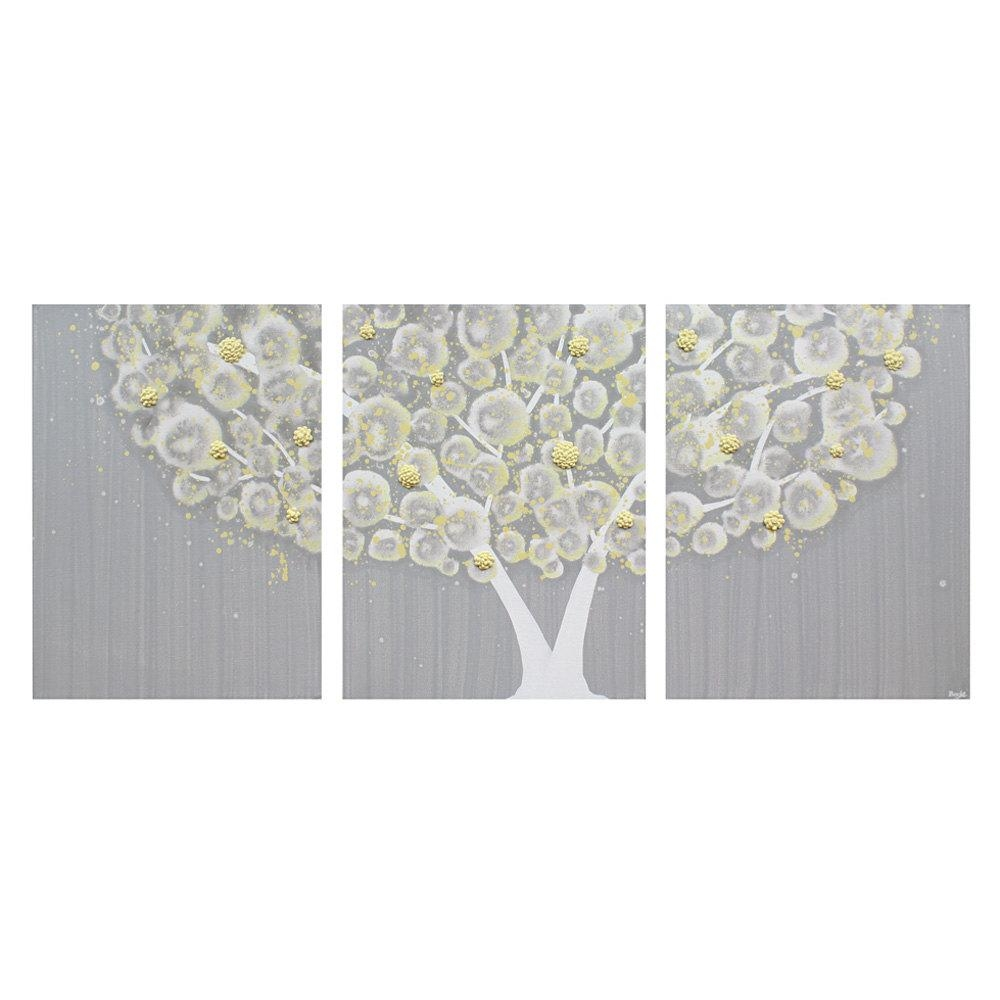 Two Wall Flowers Gray Dahlia On White And White Rosebedbuggs Inside Yellow And Gray Wall Art (Image 9 of 20)