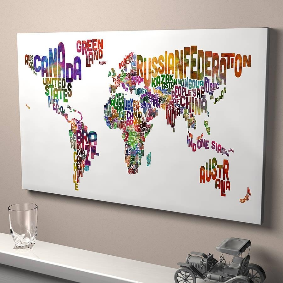 Typography World Map Art Printartpause | Notonthehighstreet Throughout Typography Canvas Wall Art (Image 19 of 20)