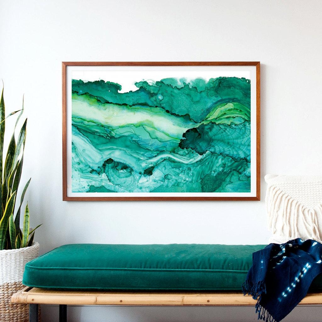 Undercurrent Emerald Ink: Framed Art Print Ocean Art Surf for Oversized Framed Art