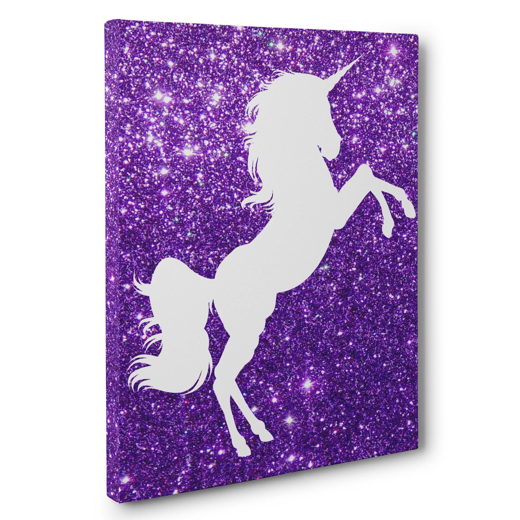 Unicorn Purple Nursery Decor Canvas Wall Art - Paper Blast within Purple Canvas Wall Art