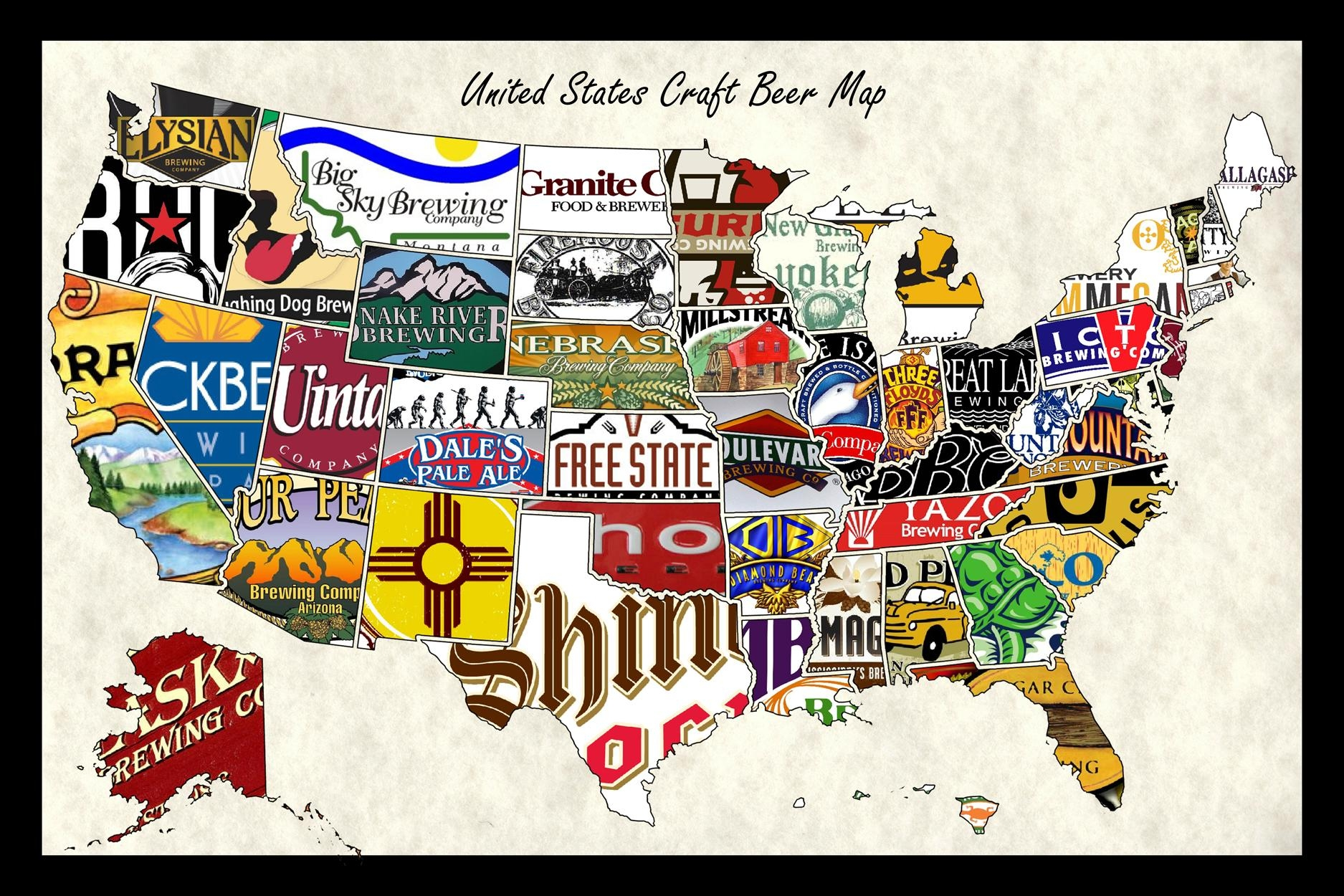 United States Craft Beer Wall Map Art Poster Of Breweries for Us Map Wall Art