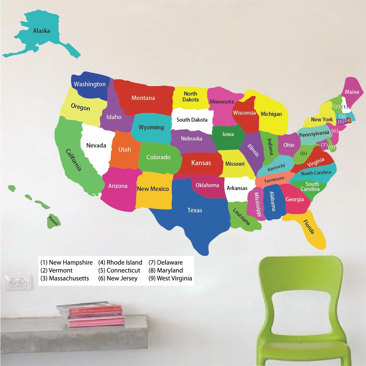 United States Map Wall Decal – Educational Wall Decal Murals Regarding United States Map Wall Art (View 8 of 21)