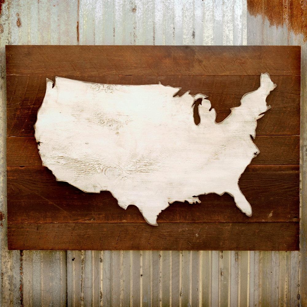 United States Map Wooden Reclaimed Rustic Decor Us Wall Map Pertaining To United States Map Wall Art (View 12 of 21)