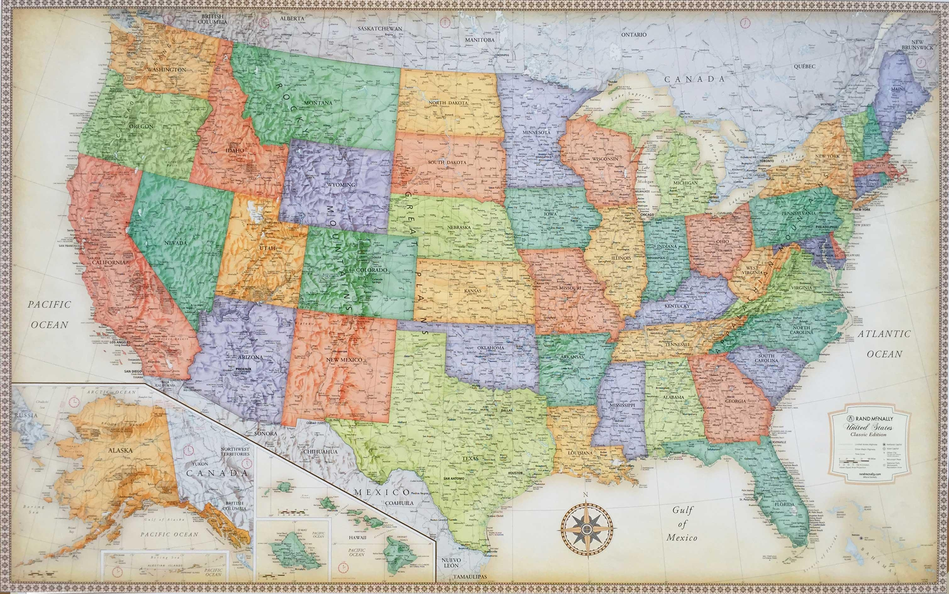 United States Wall Maps Pertaining To United States Map Wall Art (View 13 of 21)