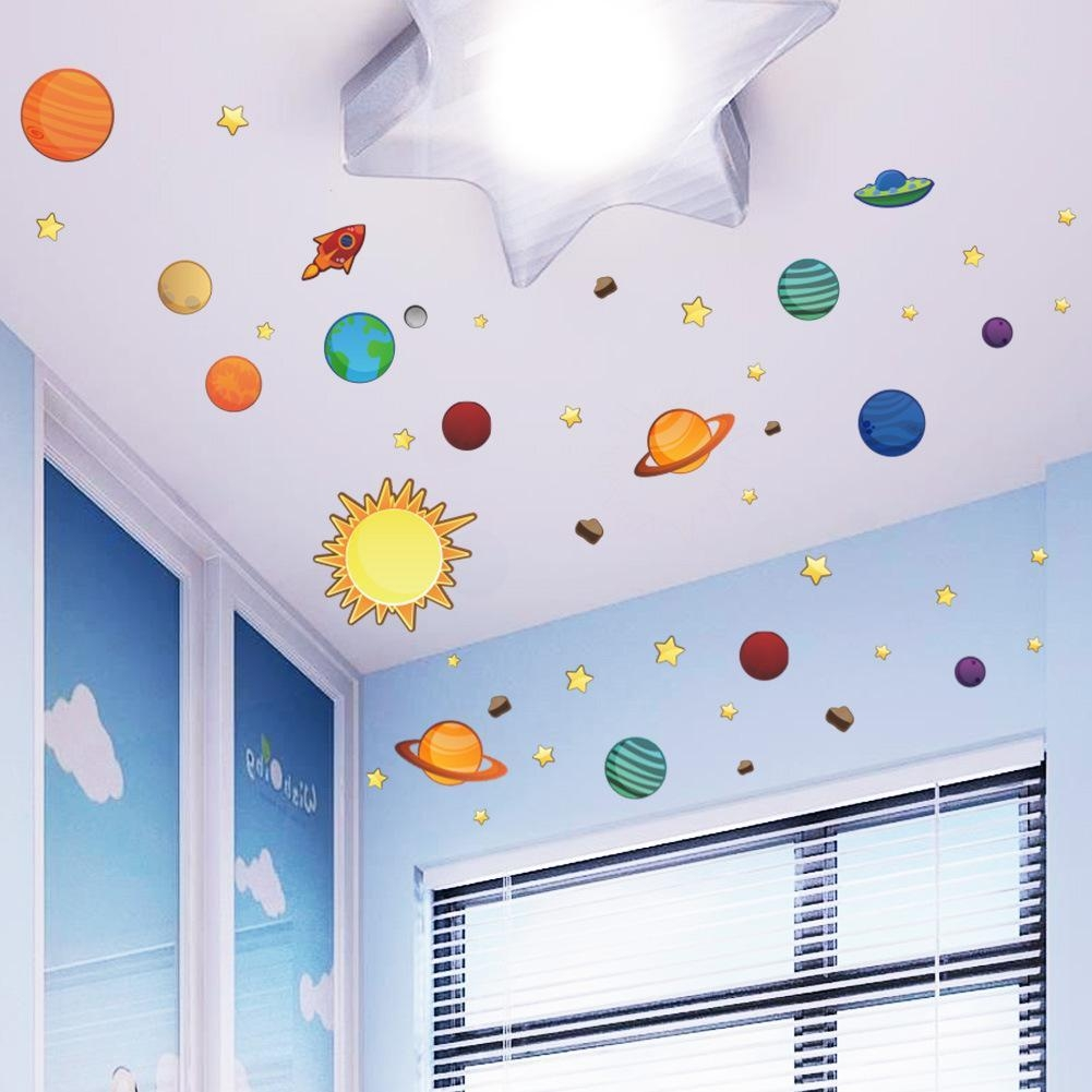 Universe Wall Stickers For Kids Room Nursery Adesivos De Parede Within Outer Space Wall Art (View 19 of 20)