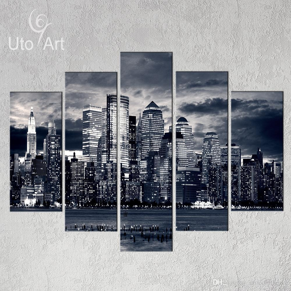 Unstretched Modern Home Decor New York City Painting Black White throughout New York City Wall Art