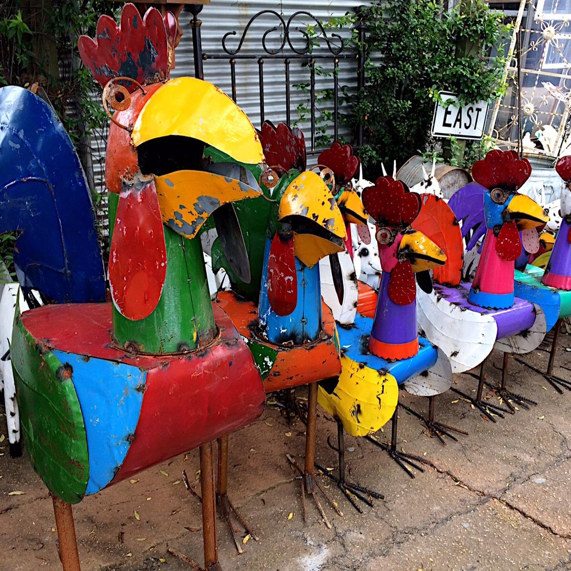 Upcycled Metal Rooster Yard Art – Kudzu Antiques with regard to Mexican Metal Yard Wall Art