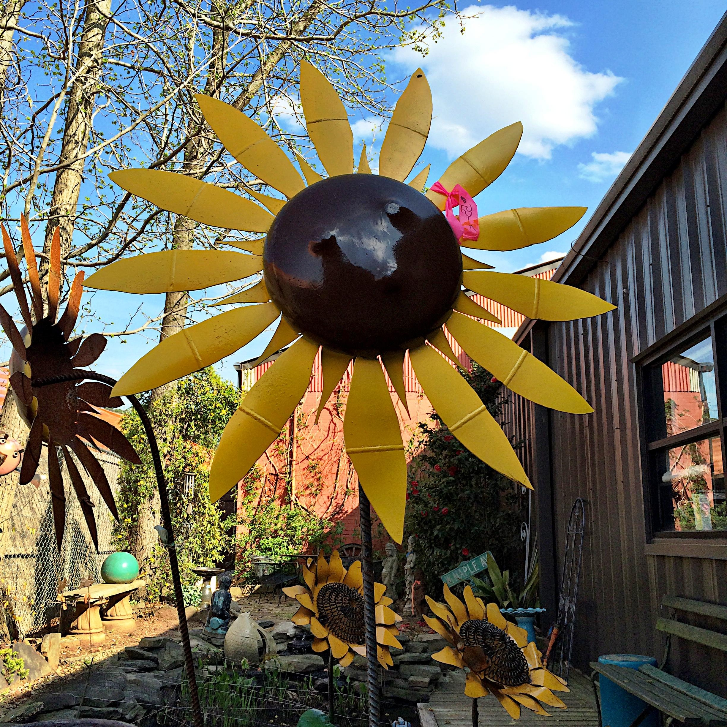 Upcycled Metal Sunflower Yard Art – Kudzu Antiques for Metal Sunflower Yard Art