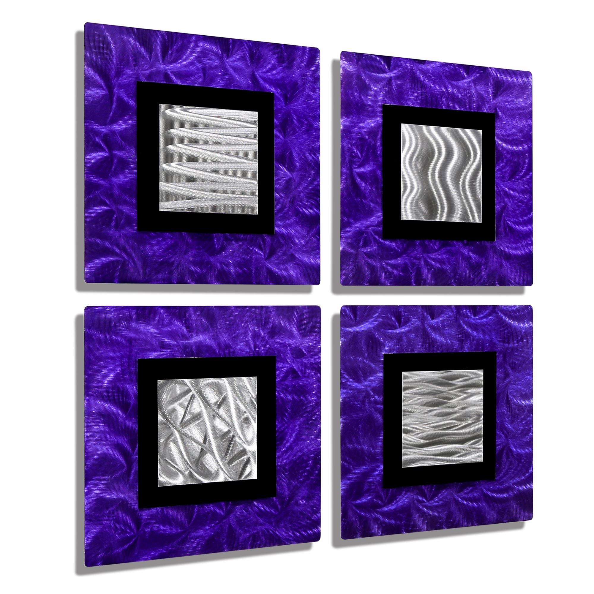 Urban Vibes - Vibrant Purple, Black & Silver Modern Metal Wall with Purple Abstract Wall Art