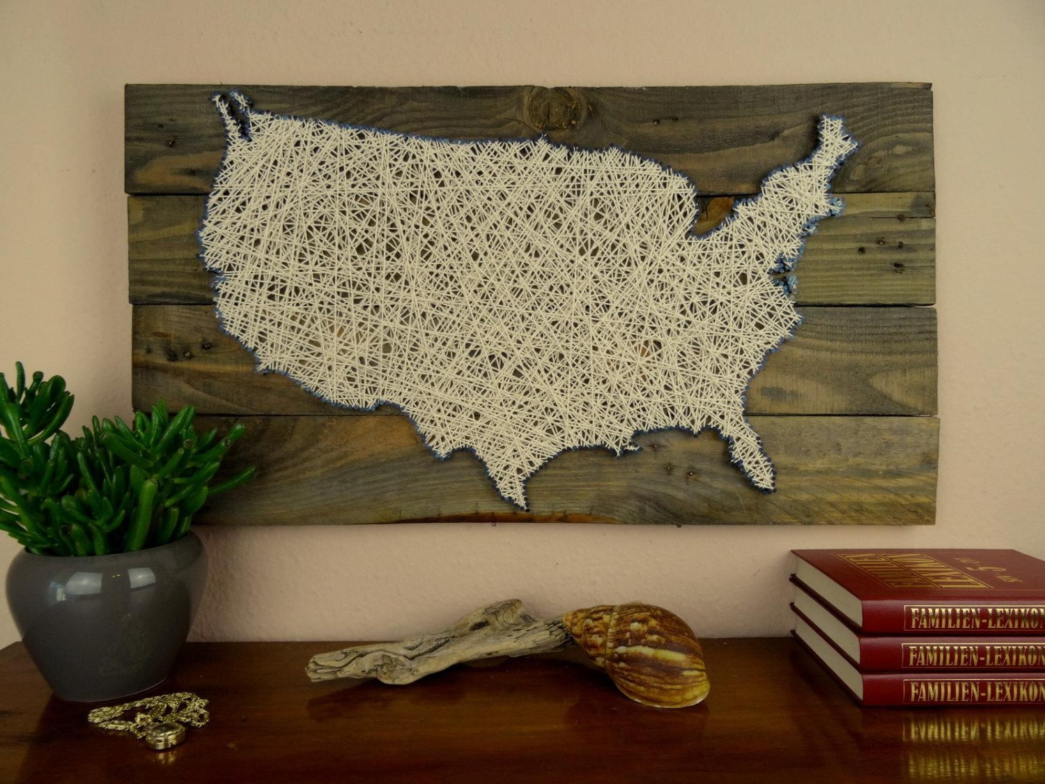 Usa Map String Art Reclaimed Wood Shabby Chic Wedding Regarding Us Map Wall Art (View 2 of 20)