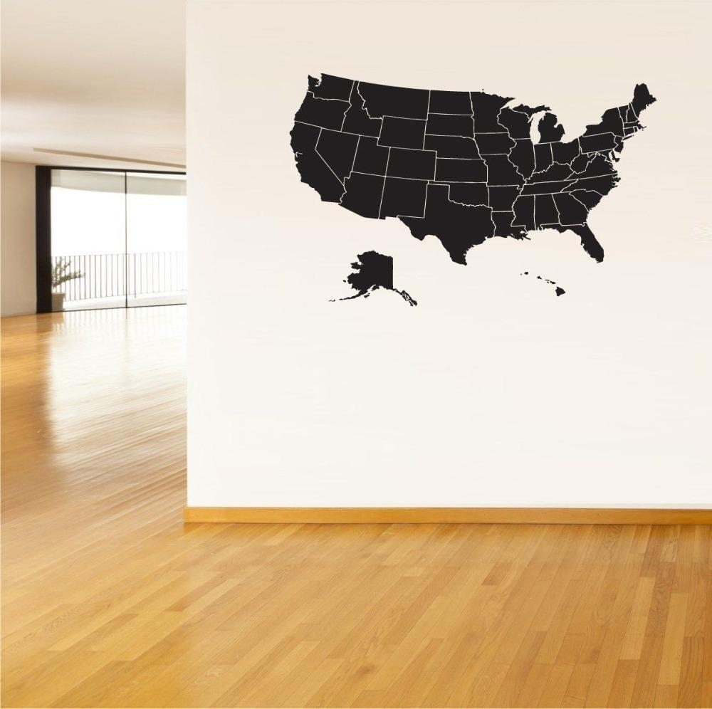 Usa Map Wall Sticker United States Of America Map Mural Pvc Wall Throughout Us Map Wall Art (View 17 of 20)