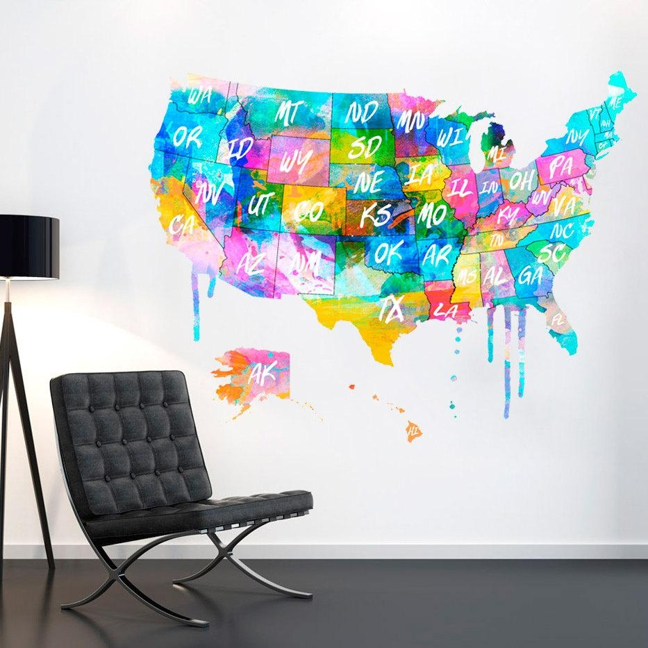 Usa Us Map Usa Map United States Watercolor Decal In United States Map Wall Art (View 18 of 21)