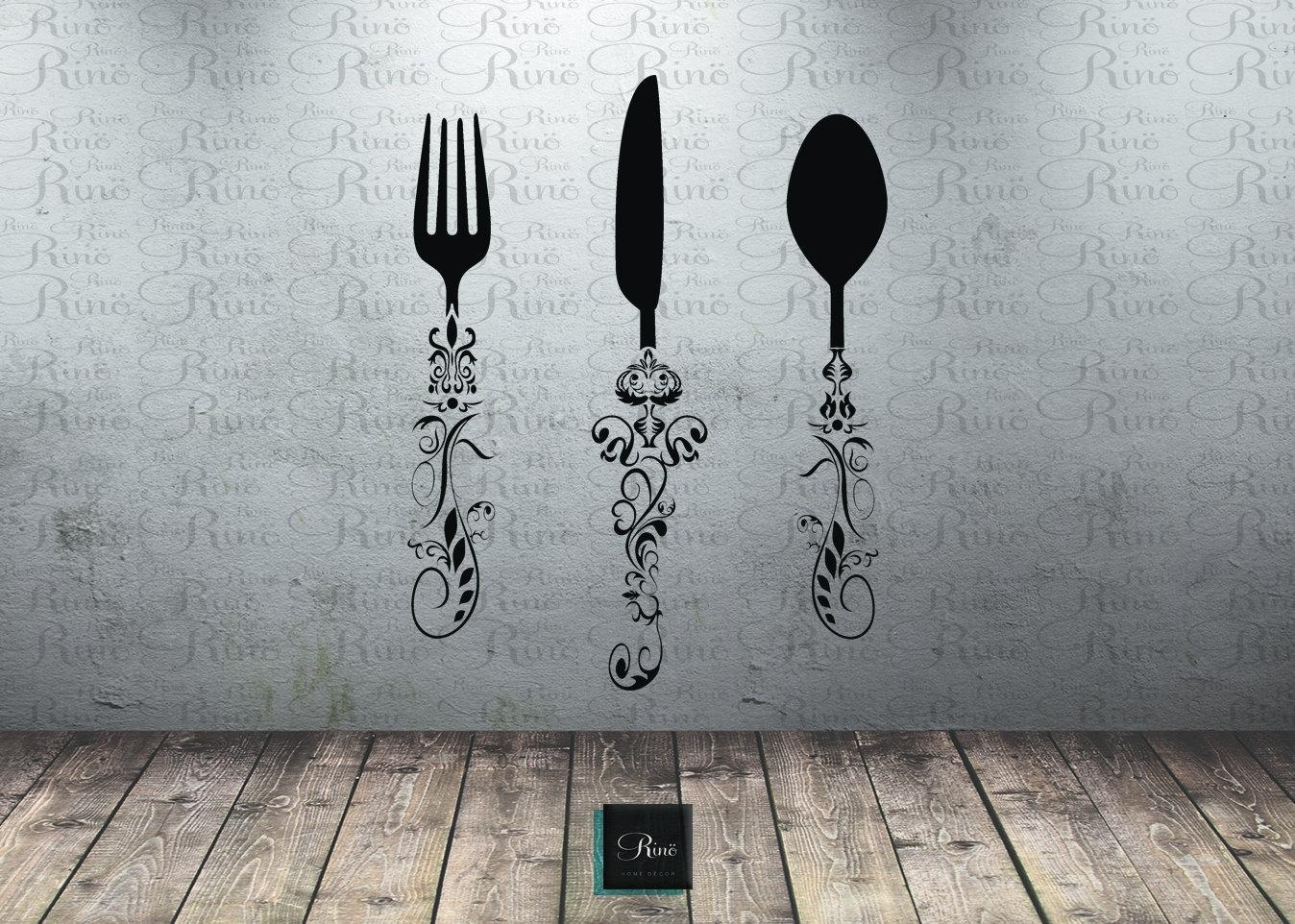 Utensil Decals (5Ft) Kitchen Wall Decal – Knife Spoon Fork Wall For Large Utensil Wall Art (View 3 of 20)
