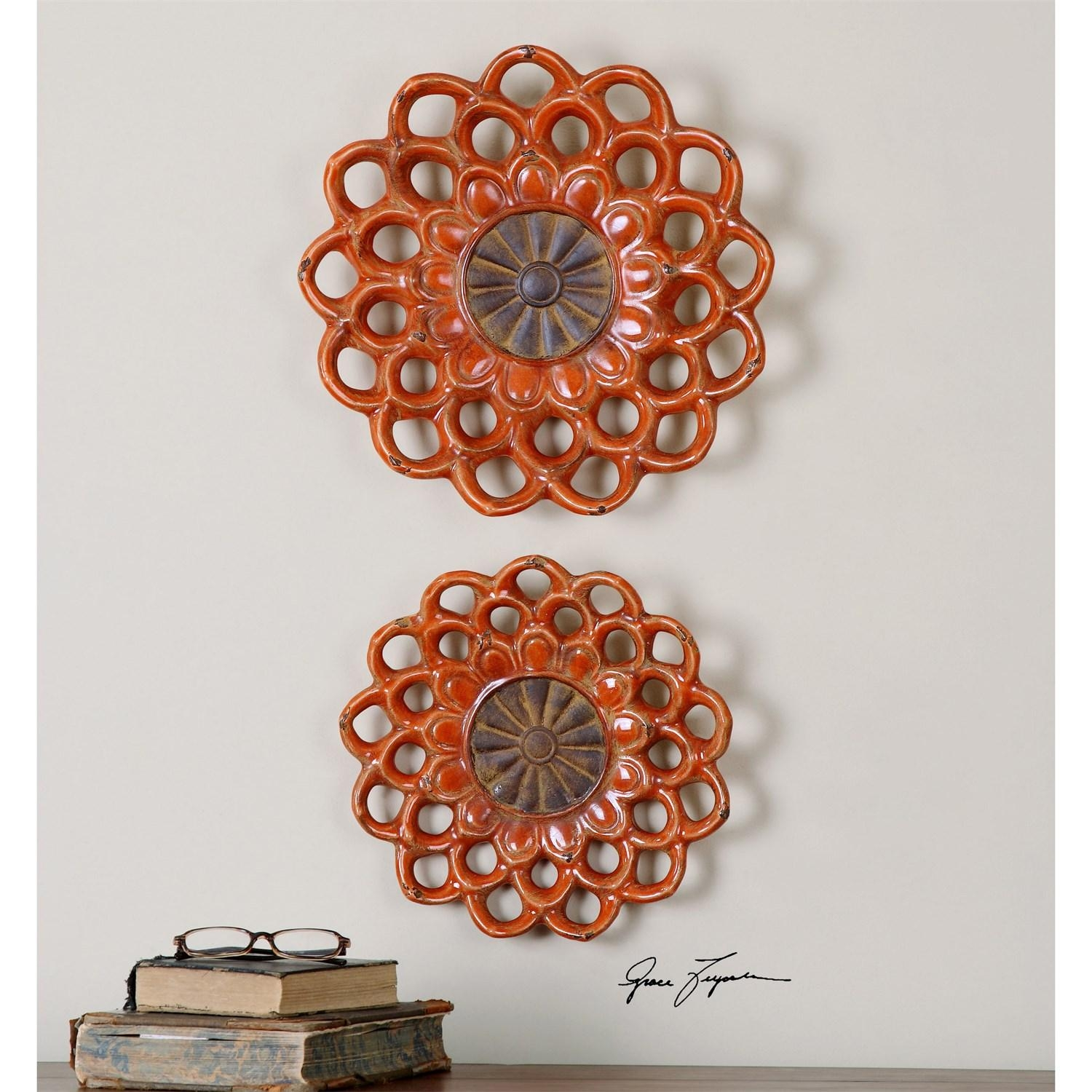 Uttermost 08505 Carilla Medallions Ceramic Wall Art – Set Of 2 Intended For Large Ceramic Wall Art (View 13 of 20)