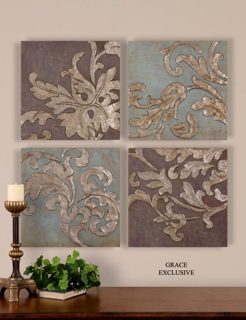 Uttermost Damask Relief Blocks Wall Art Set/4 35223 intended for Exclusive Wall Art