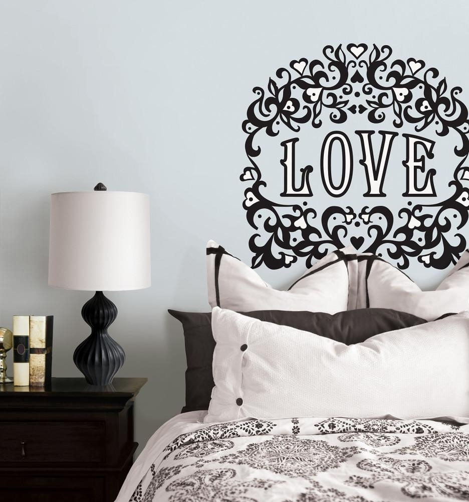 Valentine Days. Cool Home Wall Decals For Valentine Decors: White pertaining to Black And White Damask Wall Art