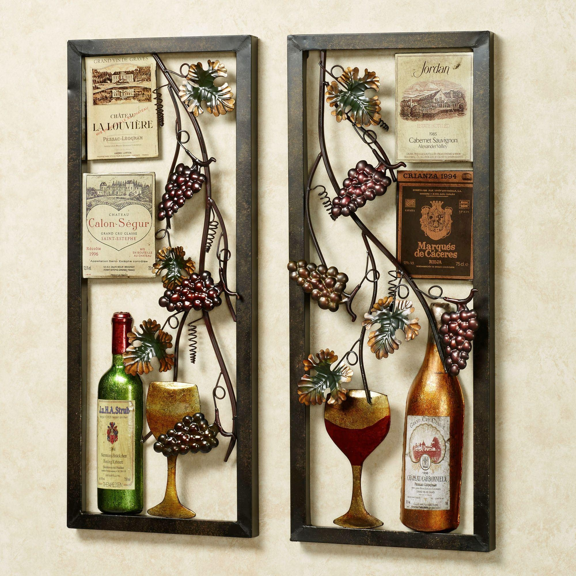 Valley Vineyard Metal Wall Art Set pertaining to Wine Theme Wall Art