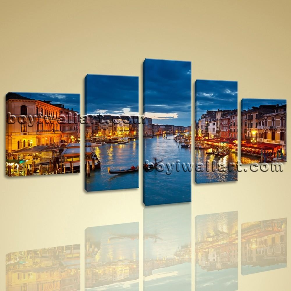 Venice Night Scene Peaceful Large Wall Art Canvas Print Framed Blue With Canvas Landscape Wall Art (View 16 of 20)