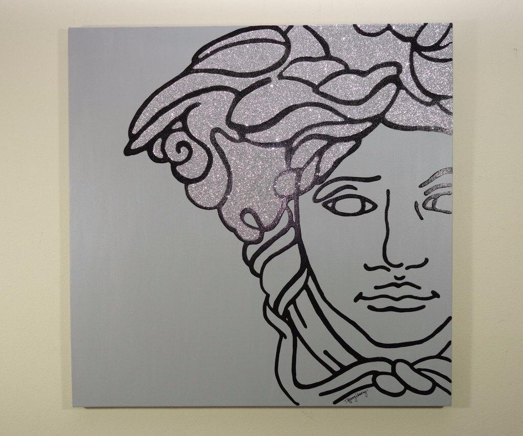 Versace Medusa Painting 24X24 Pop Art Black Silver with Versace Wall Art